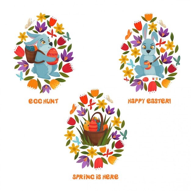 Easter egg hunt spring flowers-samenstelling Gratis Vector