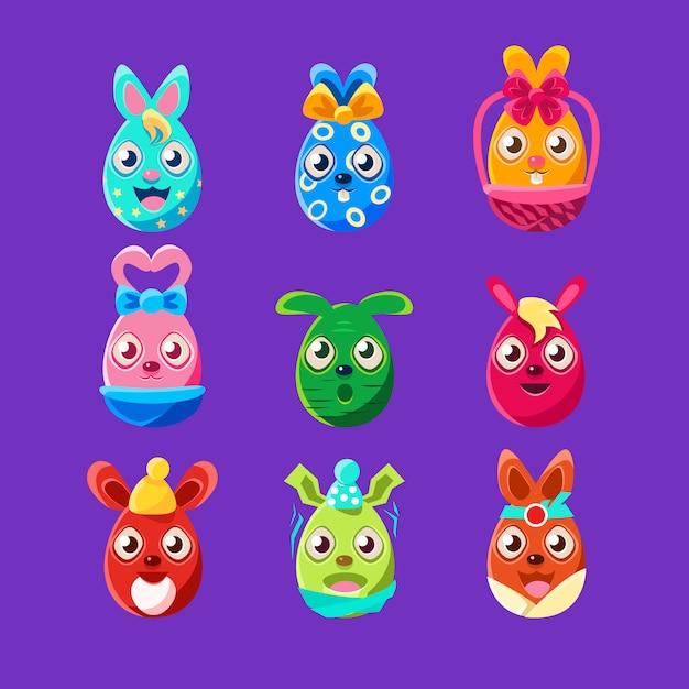Easter egg shaped bunnies kleurrijke girly sticker set van religieuze vakantie symbolen Premium Vector