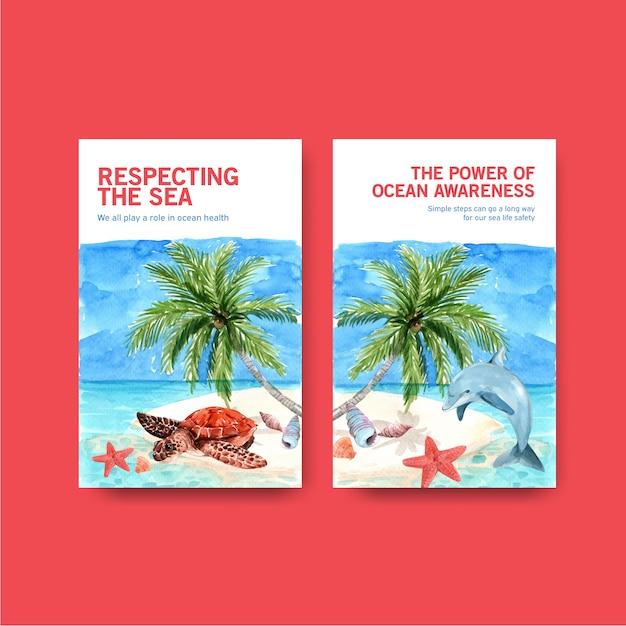 Ebook sjabloonontwerp voor world oceans day concept met zeedieren, zeesterren, dolfijnen en schildpadden op eiland aquarel vector Gratis Vector