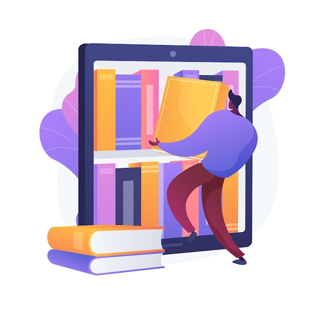 Ebooks collectie. bibliotheekarchief, e-lezing, literatuur. mannelijke stripfiguur laden van boeken in ereader. man romans aanbrengend covers boekenplank. Gratis Vector