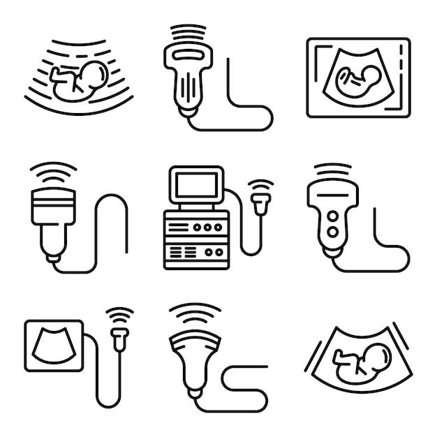 Echografie iconen set, kaderstijl Premium Vector