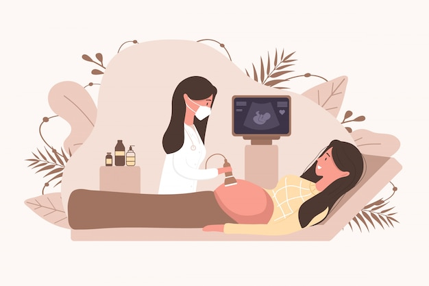 Echografie zwangerschap screening concept. vrouwelijke arts in medisch uniform scannen moeder. meisje dat met buik in monitor het glimlachen kijkt. embryo baby gezondheid diagnostische illustratie. Premium Vector