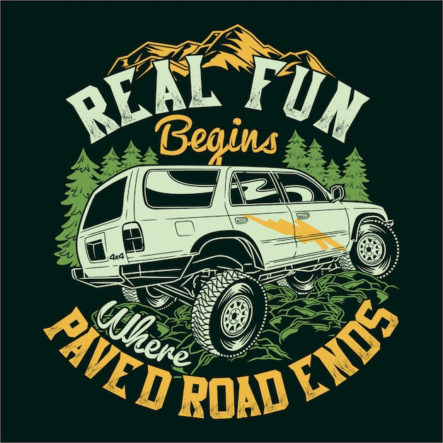 Echt plezier begint waar een verharde weg eindigt met citaten over avontuurlijk verkennen Premium Vector