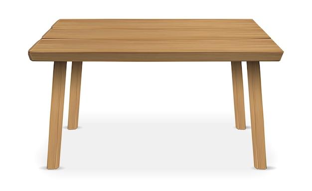 Echte houten tafel op een witte achtergrond Premium Vector