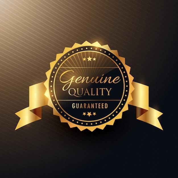 echte kwaliteit award gouden label badge ontwerp met lint Gratis Vector