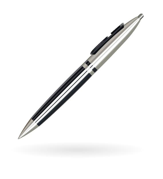 Echte luxe balhoofdpen in zwart en zilver Premium Vector