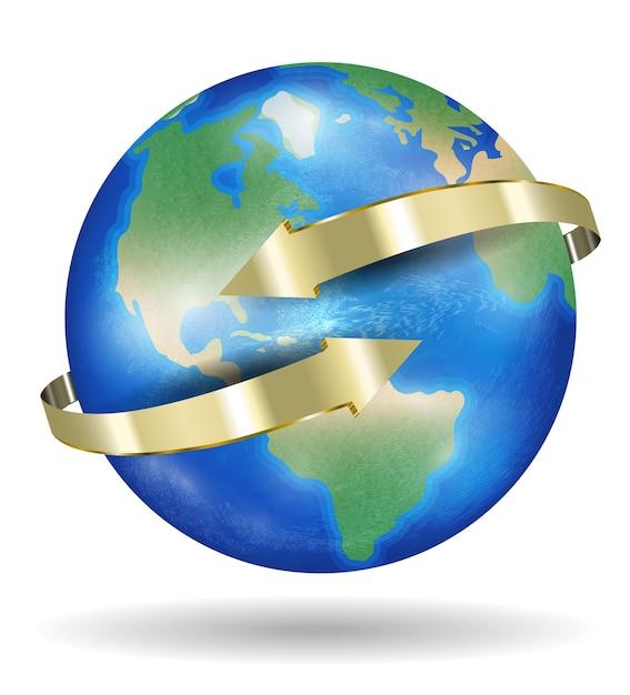 Echte wereld aarde planeet met gouden pijl Premium Vector