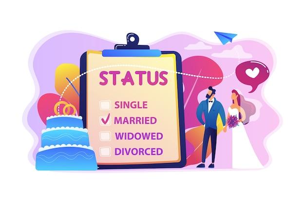 Echtpaar en burgerlijke staat op klembord, kleine mensen. relatiestatus, burgerlijke staat en scheiding, huwelijk en echtscheiding concept. Gratis Vector