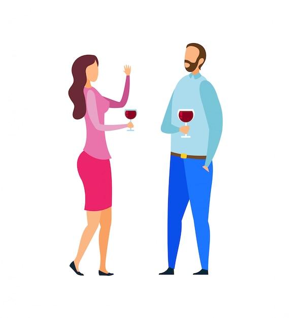 Echtpaar proeverij wijn vectorillustratie Premium Vector