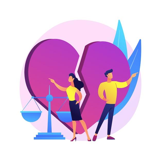 Echtscheiding abstract concept illustratie. ontbinding van het huwelijk, scheiding, door middel van een echtscheidingsbesluit, conflict tussen man en vrouw, gezond uiteenvallen, ruzie tussen ouders, uiteenvallen Gratis Vector