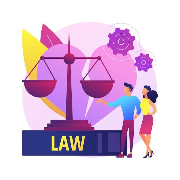 Echtscheiding advocaat service abstract concept illustratie. familierechtadvocaat, echtscheidingsproces, consultatie van juridische dienst, hulp bij advocatenkantoor, kinderalimentatie, advies over erfrechtelijke akten. Gratis Vector
