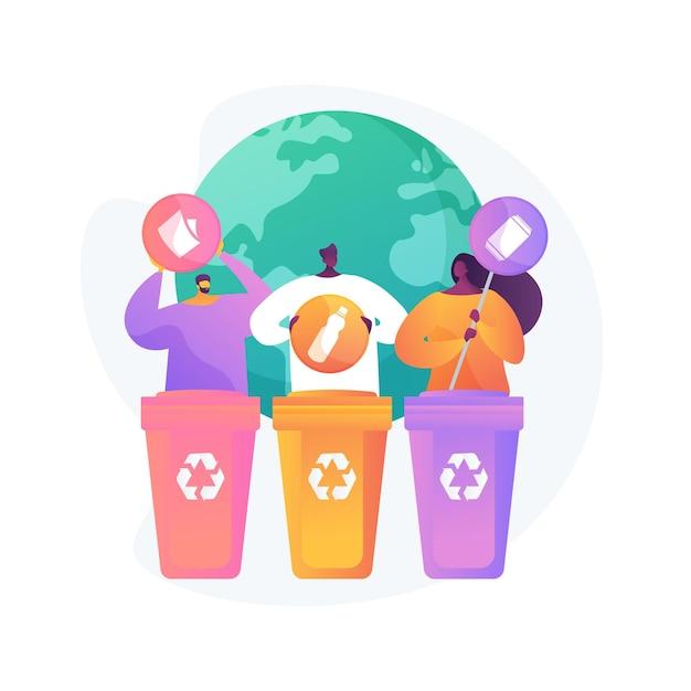 Eco-activisten sorteren afval. afvalscheiding. wegwerpsysteem. ecologische verantwoordelijkheid. afvalcontainers, vuilnisbakken, idee voor recycling. Gratis Vector