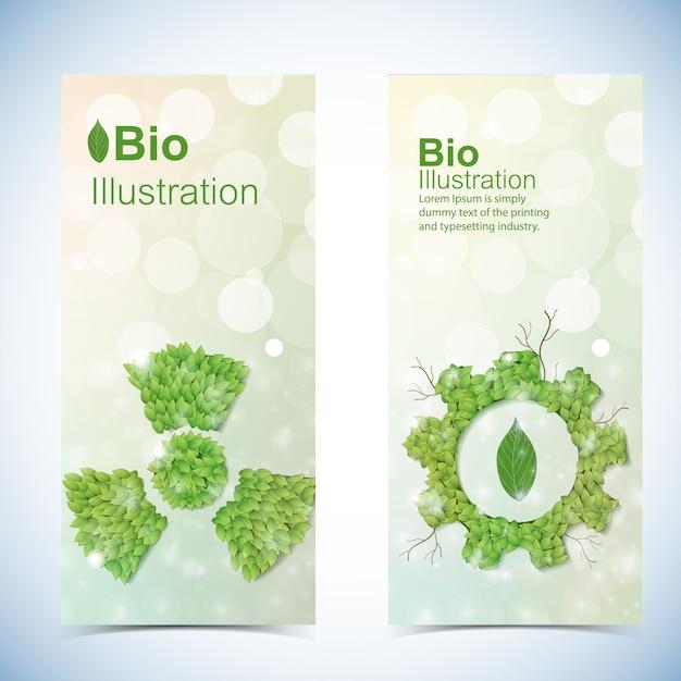 Eco-banners instellen met bio power symbolen geïsoleerd Gratis Vector