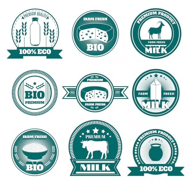 Eco boerderij melk zuivelproducten emblemen Gratis Vector