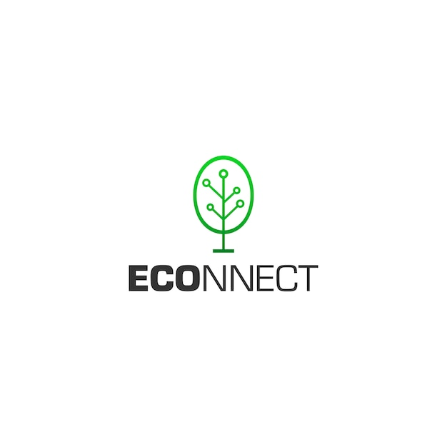 Eco connect-logo Premium Vector