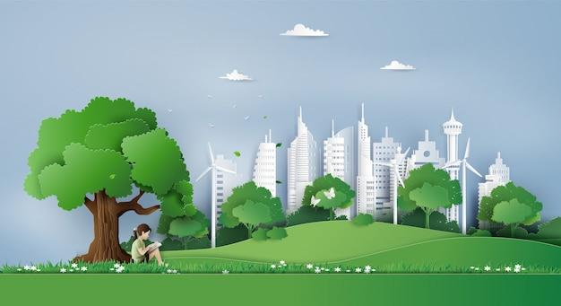 Eco en milieu concept Premium Vector