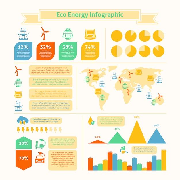 Eco energie infographic sjabloon afdrukken Premium Vector