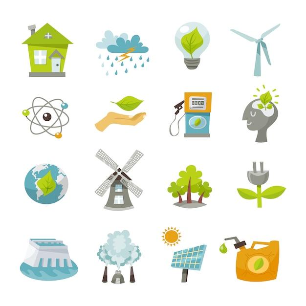 Eco energie pictogrammen plat Gratis Vector