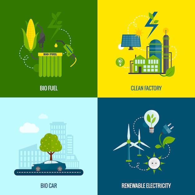 Eco energie plat pictogrammen samenstelling Gratis Vector