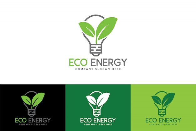 Eco green energy-embleem met bol en blad Premium Vector
