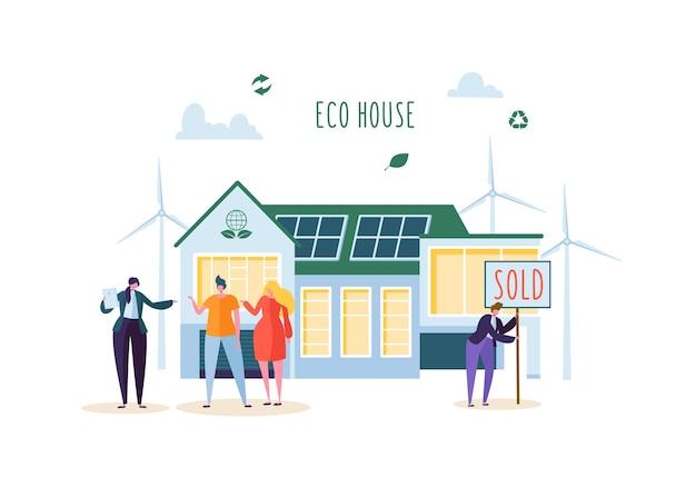 Eco house concept met gelukkige mensen kopen nieuw huis. makelaar in onroerend goed met klanten. ecologie groene energie, zonne- en windenergie. Premium Vector