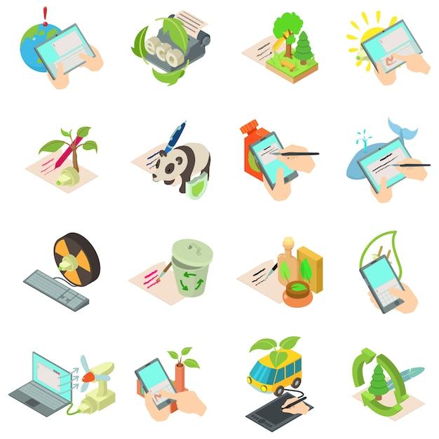 Eco info iconen set, isometrische stijl Premium Vector