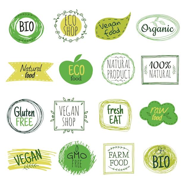 Eco-labels ingesteld Premium Vector