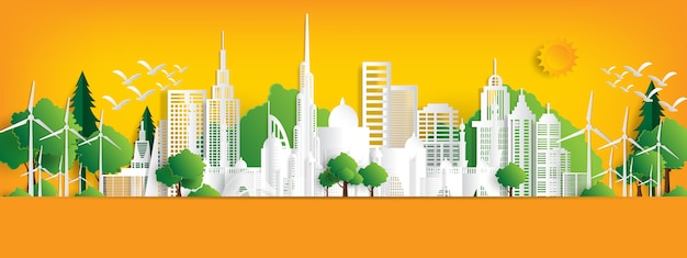 Eco landschap met gebouwen in papier gesneden. Premium Vector