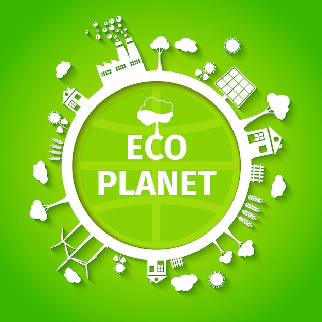 Eco planeet achtergrond poster Gratis Vector