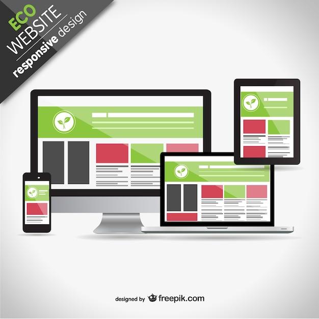 Eco responsieve web design schermen Gratis Vector
