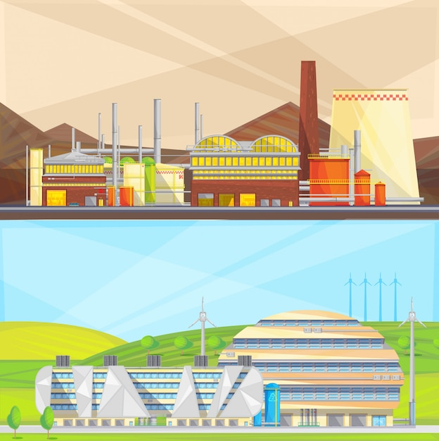 Eco-schone industrie die afval omzet in energie en windenergie gebruikt Gratis Vector