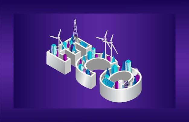 Eco stad concept. alternatieve energiebronnen, moderne technologieën in de vorm van eco-inscriptie. energiebesparing op stadslandschap. zonnepanelen, windmolens. Premium Vector