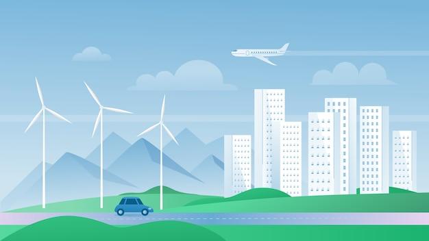 Eco stad concept vectorillustratie, cartoon platte stedelijke zomer moderne stadsgezicht met wolkenkrabbers gebouwen, ecologische windmolens voor veilige omgeving Premium Vector