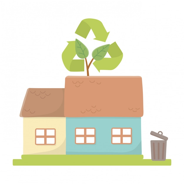 Eco-stad en planeet redden Gratis Vector