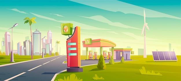 Eco-tankstation, groene tankdienst voor stadsauto's, benzinewinkel met windmolens, zonnepanelen, gebouw, prijsweergave op stadslandschap, verkoop van brandstof voor stedelijke voertuigen Gratis Vector