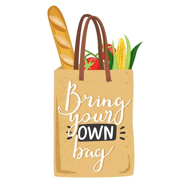 Eco-tas met groenten voor een eco-vriendelijk leven. Premium Vector