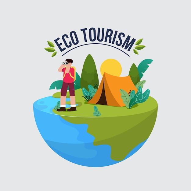 Eco-toerisme concept Gratis Vector