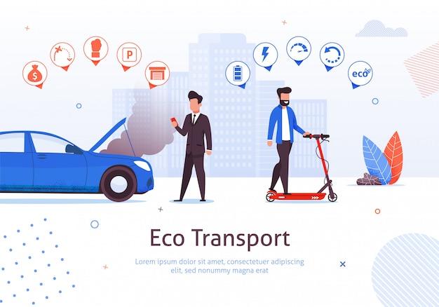 Eco transport. de mens berijdt elektrische autoped vectorillustratie. benzinemotor auto nadelen. luchtverontreiniging uitlaatgasomgeving probleem. ecologische voertuigvoordelen. groen vervoer Premium Vector