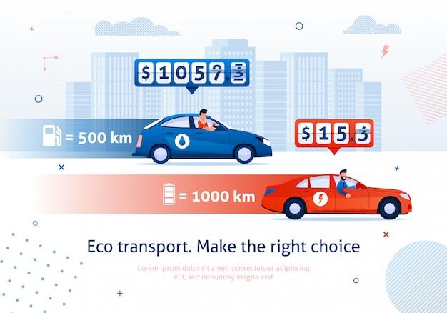 Eco transport. maak juiste keuze. elektrische motor auto benzinemotor auto vergelijking Premium Vector