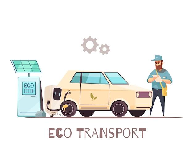 Eco transport voertuig cartoon Gratis Vector