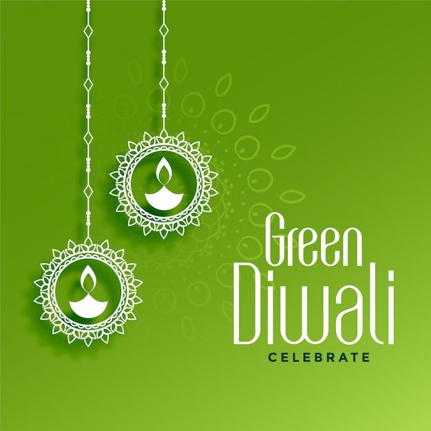 Eco-vriendelijke groene diwali met hangende diya-decoratie Gratis Vector