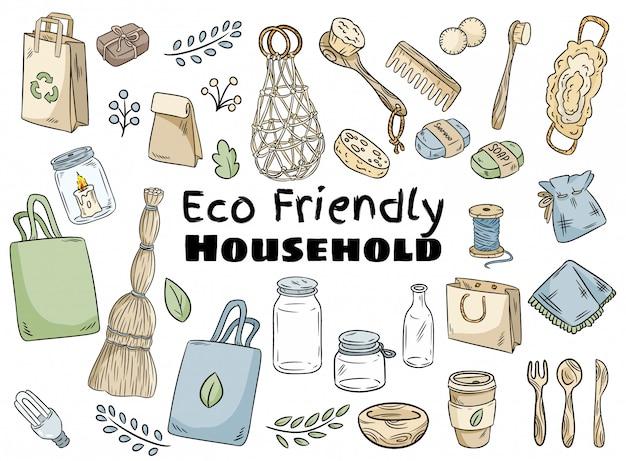 Eco-vriendelijke huishoudelijke set Premium Vector