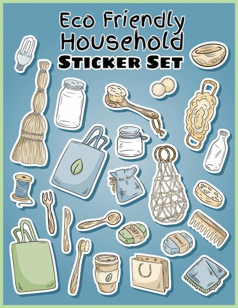 Eco-vriendelijke huishoudelijke stickers set Premium Vector