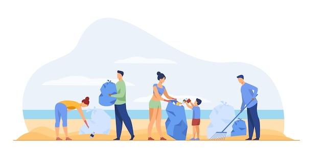 Eco-vrijwilligers die zee schoonmaken Gratis Vector