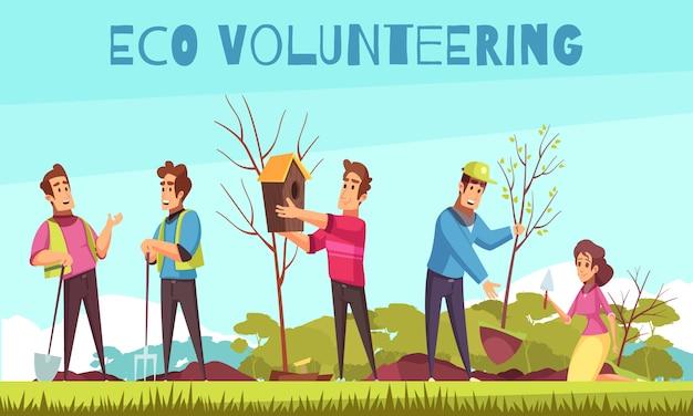 Eco vrijwilligerswerk cartoon compositie Gratis Vector