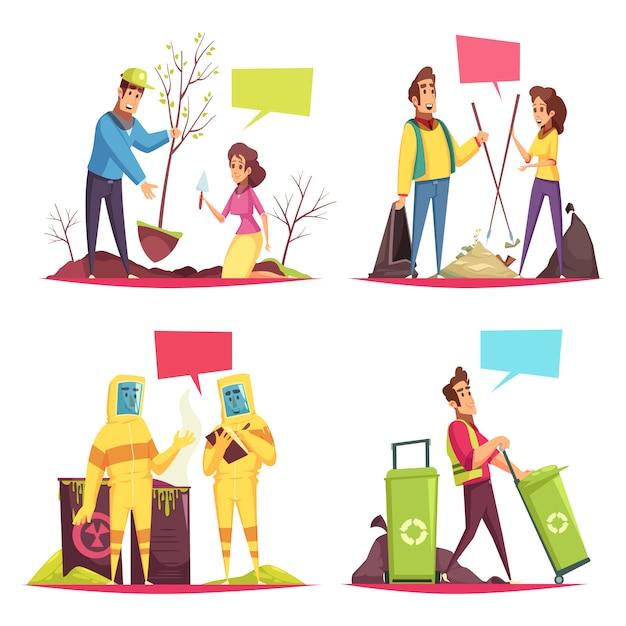 Eco vrijwilligerswerk cartoon concept illustratie Gratis Vector