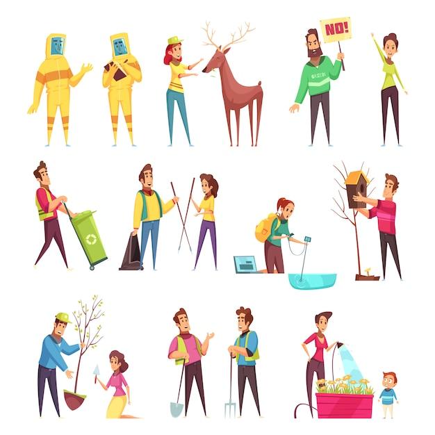 Eco vrijwilligerswerk cartoon set Gratis Vector