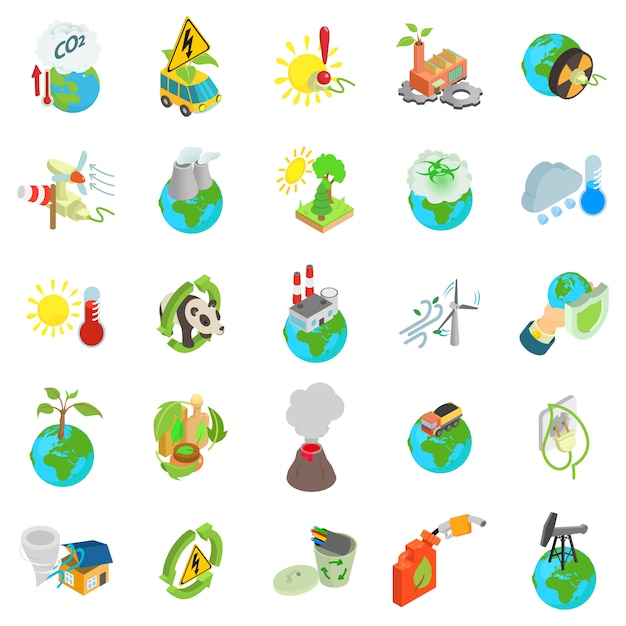 Eco wereld icon set Premium Vector