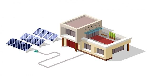 Ecohuis verbonden met zonnepaneleninstallatie Premium Vector