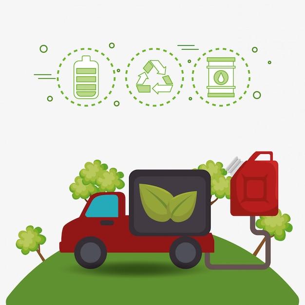 Ecologie auto voertuig pictogrammen Gratis Vector